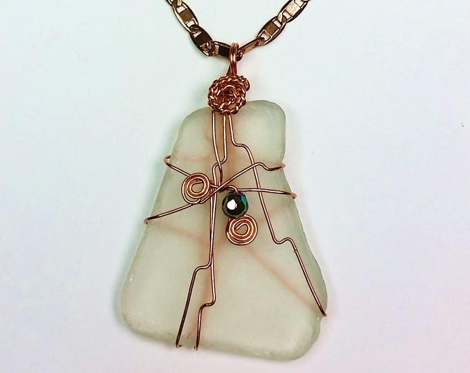 Beach Glass - Sea Glass - Pale Green - Transparent - Wire Wrapped Pendant - Copper Wire - Crystal - Adornment