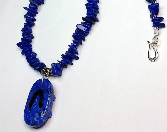 Lapis Geta Sandal Pendant Necklace - Lapis Jewelry - Flip Flop Jewelry - Japanese Theme Jewelry - Blue Jewelry