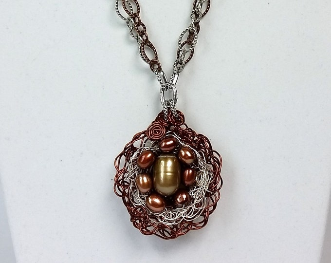 Copper and Silver Bird Nest Pendant - Woven Nest Pendant with Antique Copper and Silver chain - Pendant with Pearls in a Nest - Mixed Chain