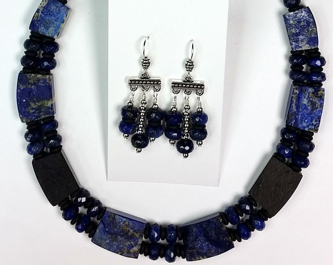 Luxurious Lapis Collar Necklace Set - Blue Lapis Lazuli Jewelry Set - Two-Sided Necklace - Rustic and Smooth