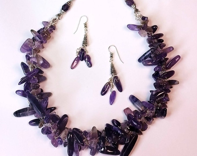 Amethyst Daggers Wire Crocheted Necklace Set