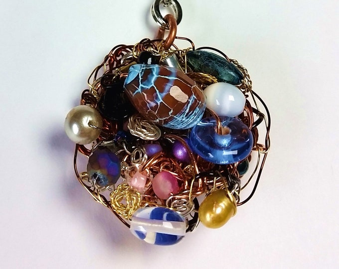 Potpourri of Wire and Beads Nest Pendant - Woven Wire and Bead Pendant on Hand Made Chain - Mixed Metals Jewelry
