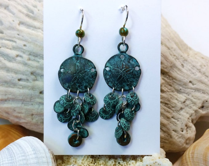 Green Copper Patina Sand Dollar Chandelier Earrings on Sterling Silver Ear Wire