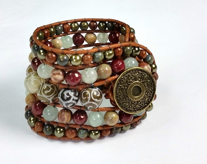 Beaded Leather Cuff Bracelet in Earthy Green, Maroon & Bronze - 5 Row Woven and Bead and Leather Bracelet - Beaded Cuff
