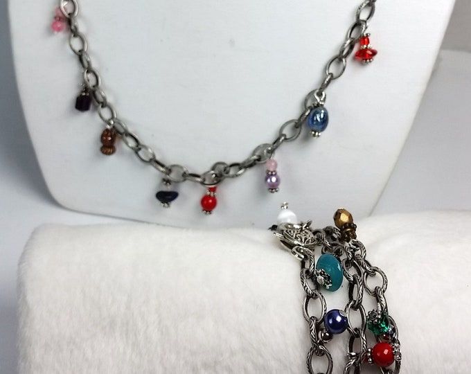 Dangle Charm Necklace or Triple Wrap Bracelet - Antique Silver Etched Chain w/Rainbow Drops - Multipurpose Convertible Combination Jewelry