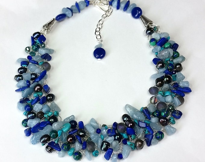 Bluesy Wire Crocheted Necklace - Semiprecious Blue Gems Jewelry - Multi Gemstone Jewelry