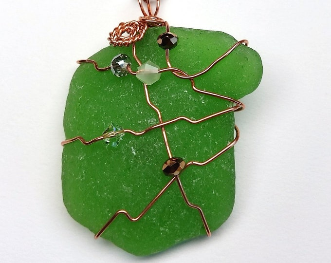 Rustic Green Beach Glass Wire Wrapped in Copper with Crystals