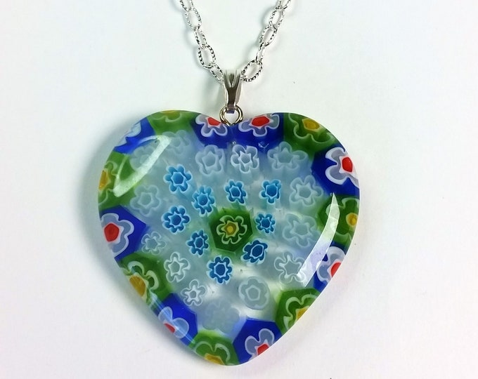 Millifiore Murano Glass Heart Pendant Necklace with Blue, Green, White, Red and Yellow on Silver Plated Adjustable Chain