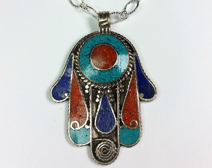 Gemstone Hamsa Pendant with Lapis, Turquoise and Carnelian Inlays - Colorful Hand Of God Talisman Pendant