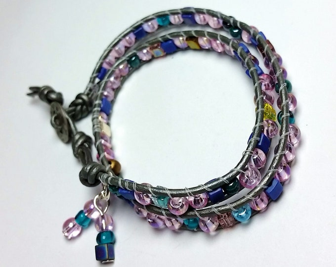 Mostly Pink Double Wrap Bracelet with Silver Leather and Beaded Dangles - Adjustable Leather Double Wrap with Button Closure