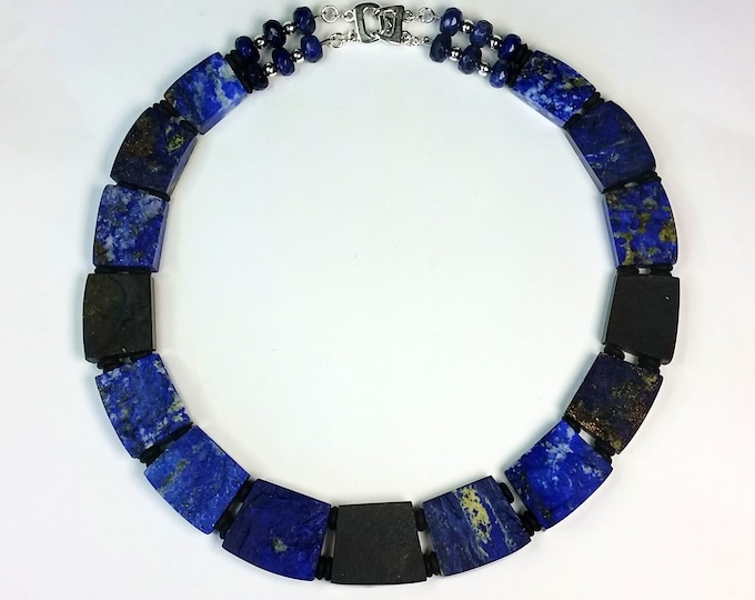 Lapis Lazuli Collar Necklace - Luxurious Two Sided Necklace - Blue Choker Necklace - Rectangle Shapes Lapis Necklace