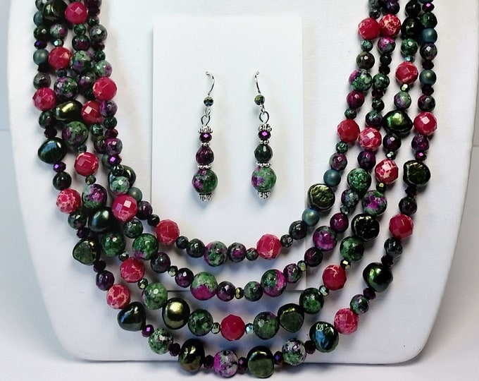 Ruby in Zoisite Quadruple Strand Necklace Set with Earrings - Green and Purple Multi-strand Necklace Set