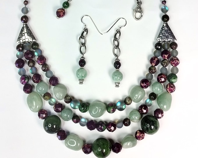 Purple and Green Multistrand Necklace Set - Ruby in Zoisite Three Strand Necklace Set with Adjustable Length