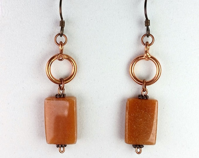 Lucky Tangerine Aventurine Earrings with Copper Accents and Hypoallergenic Ear Wires - Orange Natural Stone Earrings