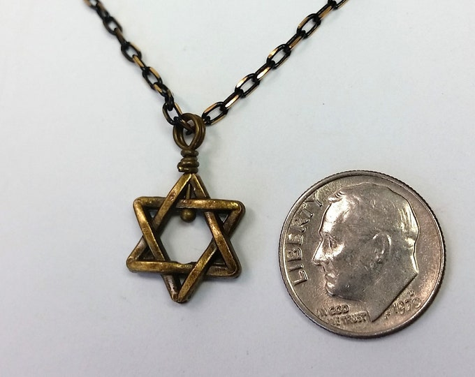 Antique Golden Star of David Necklace on Delicate Black and Gold Chain with Extender for Adjustable Length