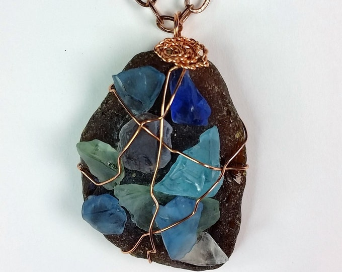 Sea Glass Mosaic on Mocha Beach Glass Wire Wrapped Pendant - Rustic Brown Beer Bottle Beach Glass Pendant with Mosaic