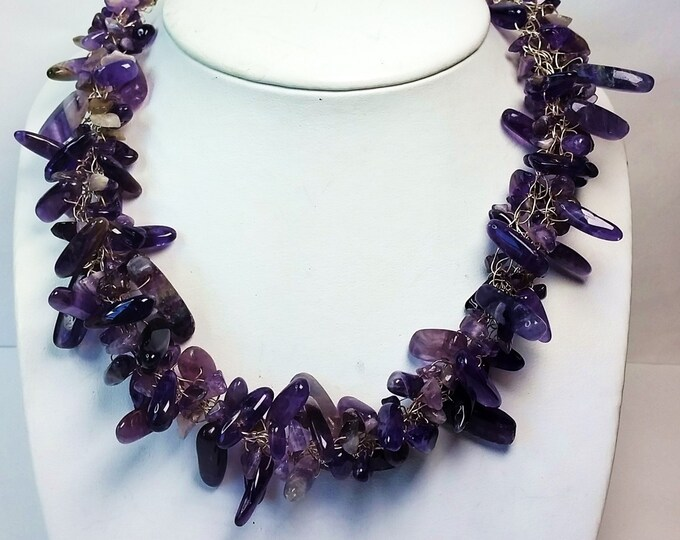 Amethyst Wire Crocheted Necklace - Purple Amethyst Stick Bead Wire Crocheted and Braided Necklace