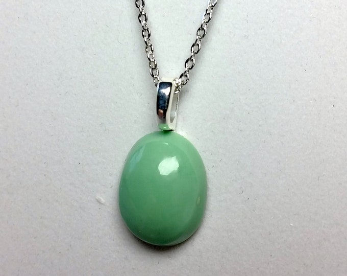 Small Variscite Oval Cabochon Pendant with Silvery Bail and Chain