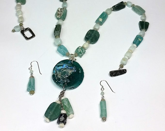 Aqua Roman Glass Pendant Set with Amazonite - Rustic Blue-Green Glass Jewelry Set - Vintage Glass Jewelry Set