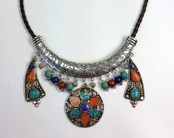 Colorful Gemstone Inlays and Bead Dangles on Silvery Collar Style Necklace - Leather Necklace with Metal Collar and Gemstone Dangles