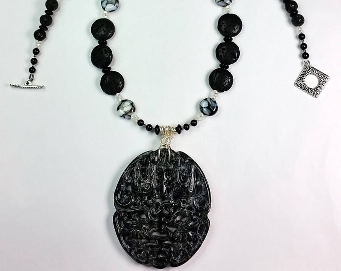 Charcoal Carved Serpentine Pendant Set - Asian Influence Jewelry - Black and White Jewelry - Serpentine Pendant - Long Necklace