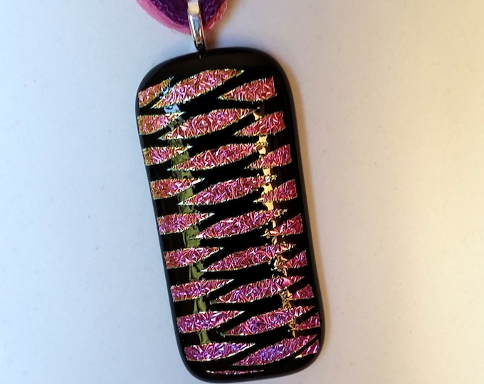 Dichroic Glass Rectangular Pendant with Pink, Purple and Black Crosshatch Pattern on Pink and Purple Fairy Ribbons