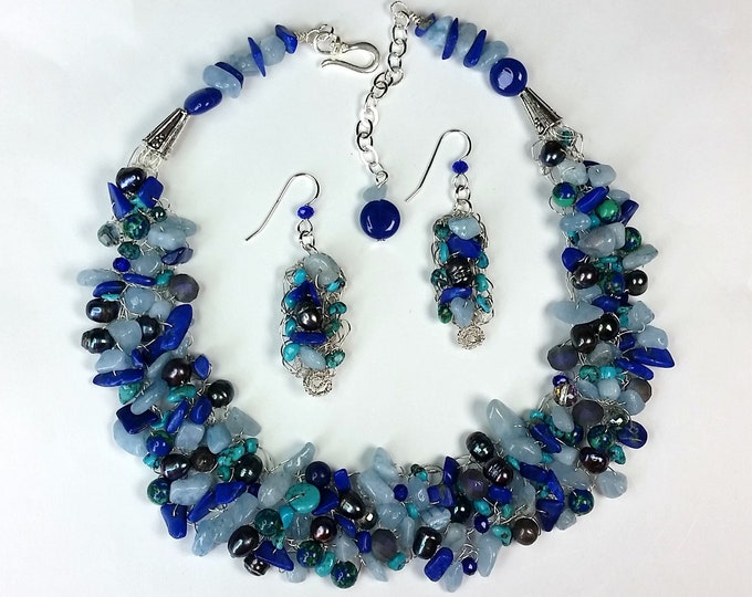 Bluesy Wire Crocheted Necklace Set - Semiprecious Gems Jewelry - Multi Gemstone Jewelry - Adjustable Length - Woven and Crochet Jewelry