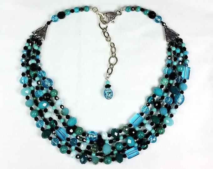 Adjustable 5-Strand Teal and Black Necklace - Turquoise and Black Multi Strand Necklace