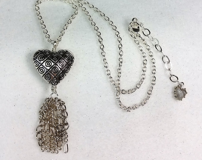 Silvery Puffed Heart Pendant with Etched Design and Chain Fringe - Adjustable Length Heart Pendant with Fringe Dangle
