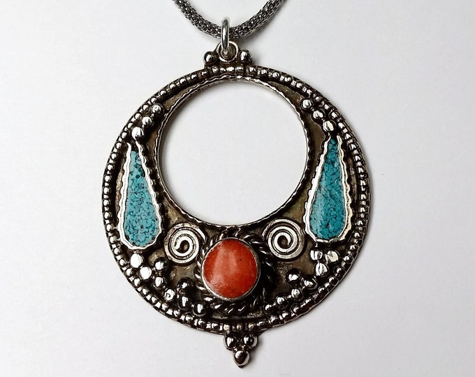 Middle Eastern Design Colorful Pendant with Turquoise Inlay and Carnelian Cabochon in Silvery Setting with Snake Chain