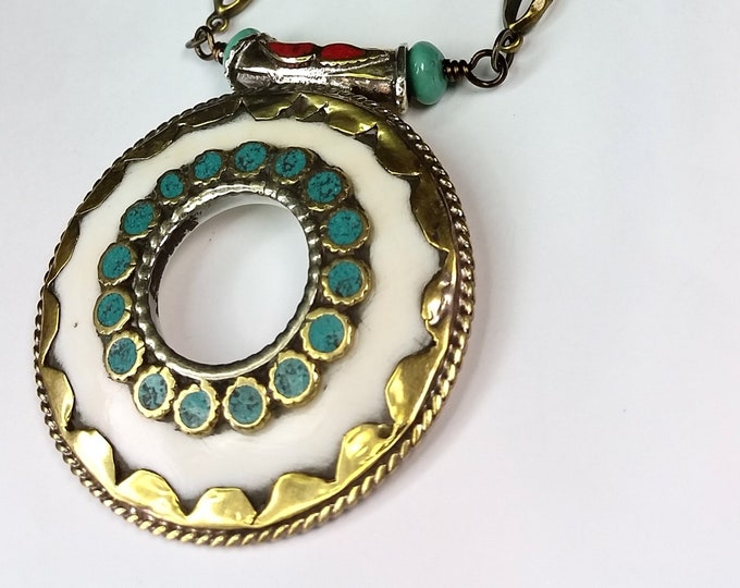 Asian Style Round Brass Pendant with Turquoise and Coral Accents - Long Brass Chain Necklace Set