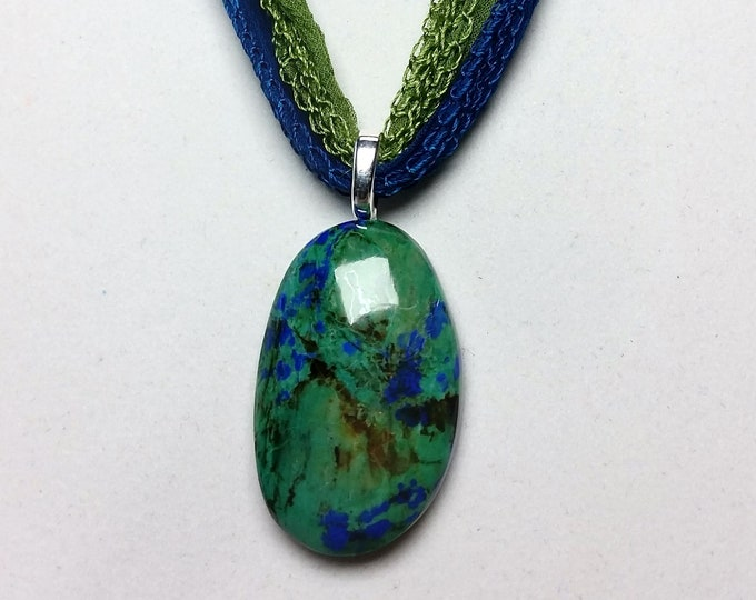Blue and Green Azurite with Chrysocolla and Malachite Oval Shape Cabochon Pendant on Soft Green and Blue Fairy Ribbons