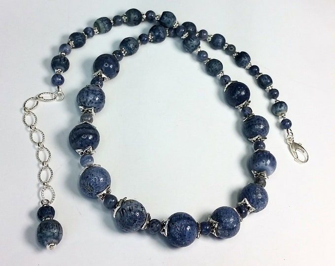 Blue Coral Adjustable Necklace and Earrings Set - Natural Pale Blue Coral Bead Necklace and Earrings