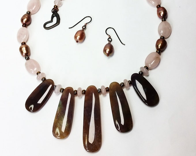 Pink Rose Quartz and Natural Pearl w/Fancy Jasper Fingers Necklace Set with - Pearl Earrings