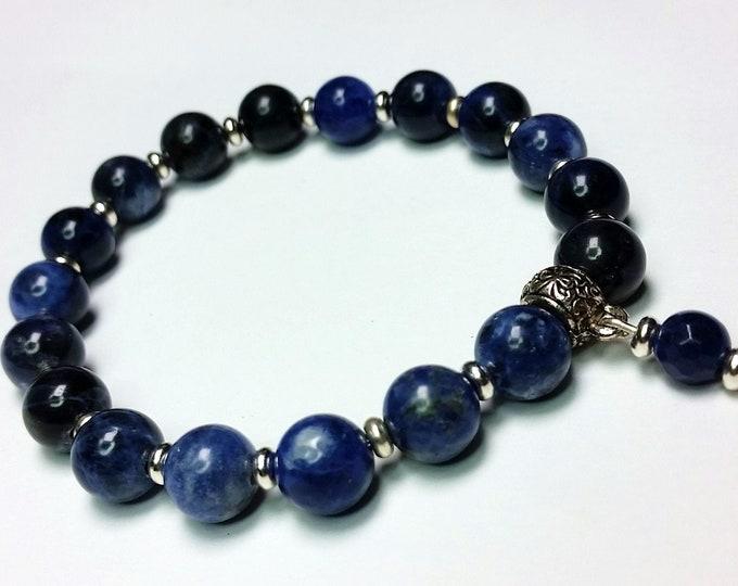 Stackable Healing Blue Lapis Stretch Bracelet - Boho Mala Style Stretch Bracelet with Natural Lapis Lazuli Beads