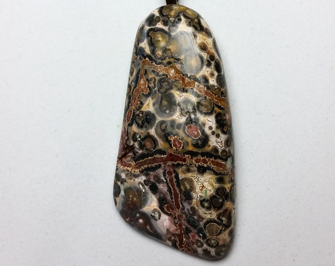 Leopard Skin Jasper Pendant with Round and Striped Features in Brown, Beige, Charcoal and Rust -  Elongated Agate Pendant on Fairy Ribbon