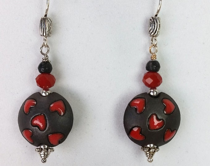 Sweetheart Earrings - Earrings with Red Hearts on Black Background - Red and Black Earrings