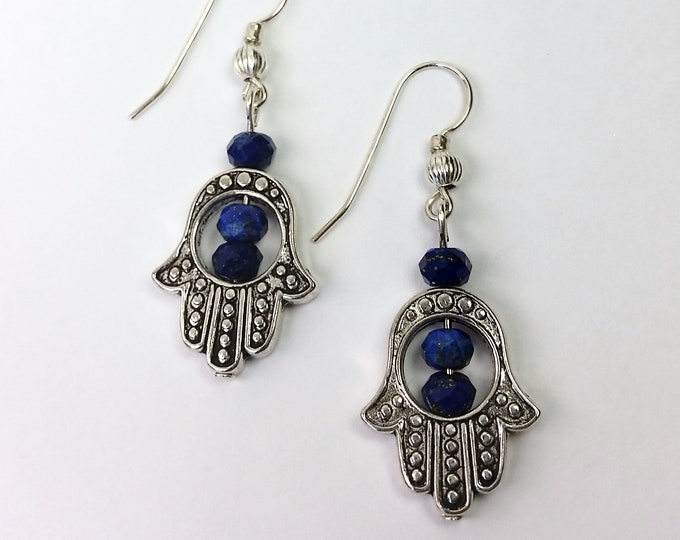 Silvery Hamsa Earrings with Lapis Lazuli Beads on Sterling Silver Ear Wires - Symbol of Protection Hand of God Earrings