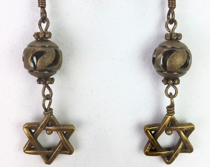 Antique Brass Star Of David Double Drop Earrings with Antique Brass Moon Carved Bead - Moon and Star Celestial Earrings