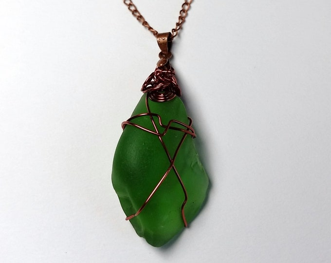 Copper Wire Wrapped Green Beach Glass Pendant on Copper Wire with Extender Chain - Adjustable Length Green Sea Glass Pendant Necklace