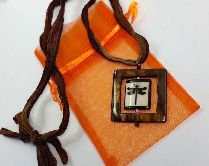 Square Dragonfly Pendant with Bone, Wood and Shell on Earthy Brown Ribbon