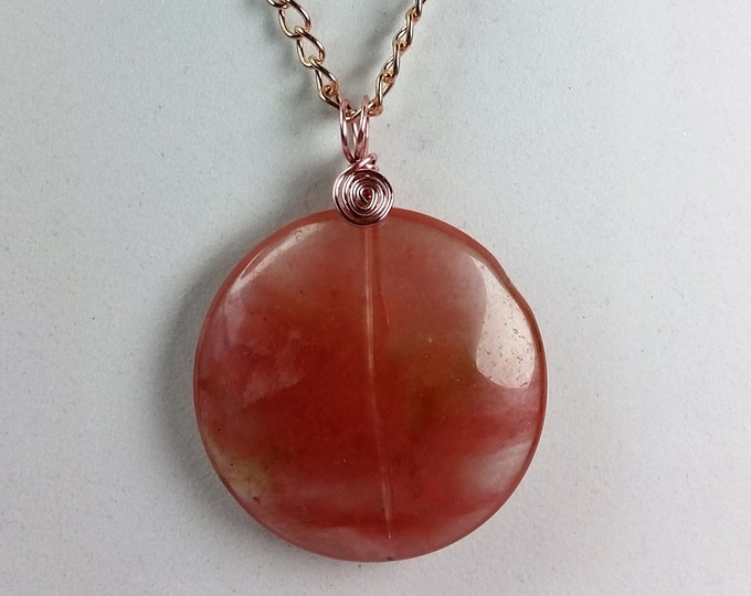 Cherry Quartz Large Coin Shaped Pendant with Rose Gold Toned Chain and Wire Wrap - Rosy Pink Adjustable Length Pendant