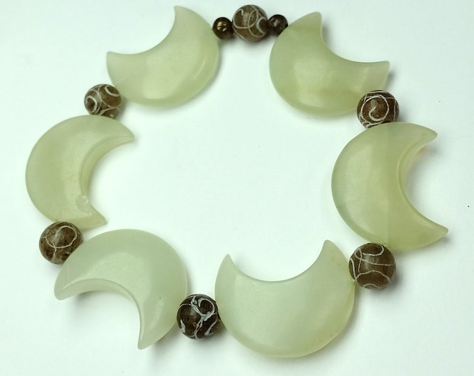 In Tune with the Moon Pale Green Prehnite and Serpentine Stretch Bracelet - Moon Shaped Prehnite Bead Bracelet