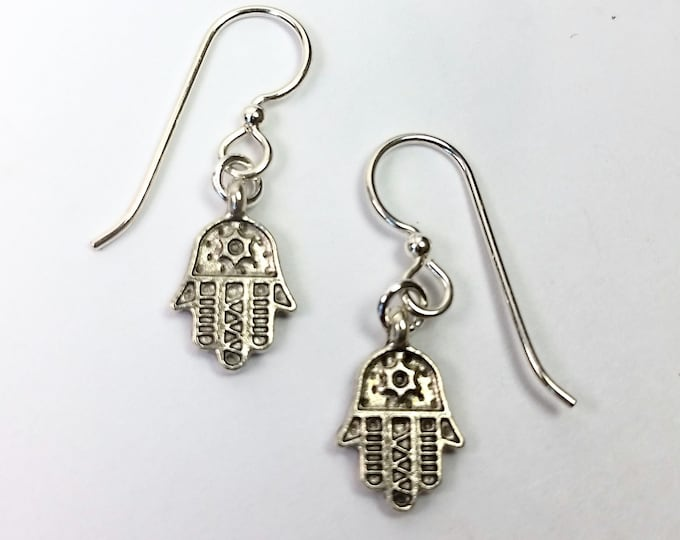 Tiny Silver Hamsa Earrings on Sterling Silver Ear Wires - Amulet Talisman to Bring Good Luck, Lucky Charm