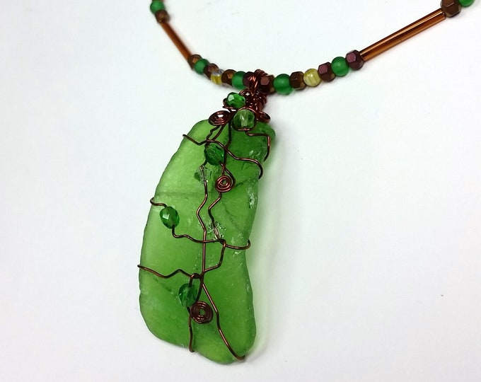 Curvy Green Beach Glass Pendant Wire Wrapped with Dark Copper Wire and Crystal Accents - Green Sea Glass Pendant
