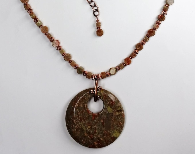 Autumn Jasper Large Coin Shaped Pendant Necklace - Adjustable Length Necklace Set