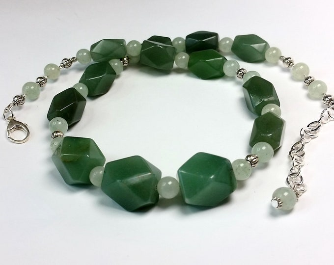 Jade Green Adjustable Length Necklace - Aventurine and Prehnite 2 Shades of Green Stone Bead Necklace - Lucky Green Necklace