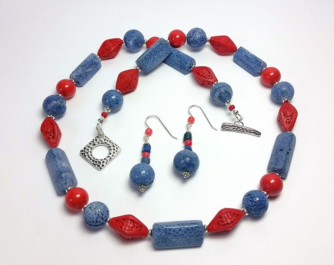 Soothing Blue Coral and Rich Red Cinnabar Necklace & Earrings Set has Swarovski Red Pearls - Patriotic Red and Blue Color Splash Jewelry Set