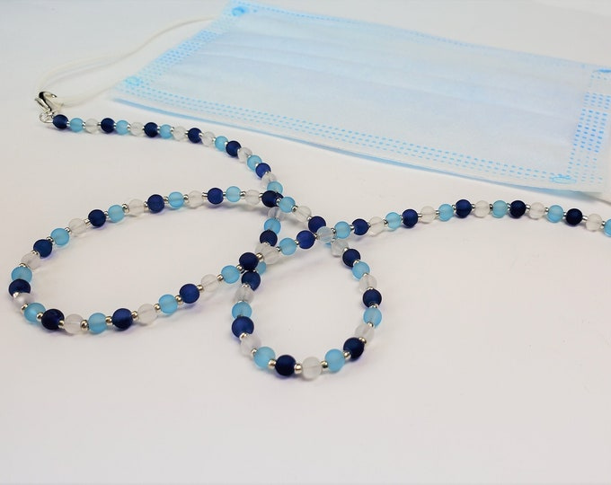 Frosted Blues Facemask Leash Converts to Necklace or Bracelet - Sky Blue and Royal Blue Beads w/Opaque Colorless Glass Beads - Multiuse Item
