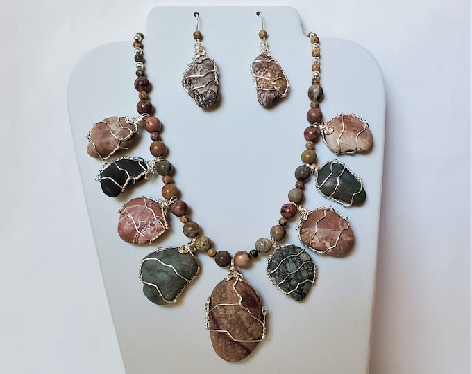 Ocean Sculpted Beach Stone Necklace and Earrings, Wire Wrapped - Neutral Toned Peach and Green Beach Stone Jewelry Set